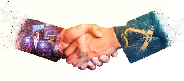Zmechanizowane ramię robota przemysłowego i podwójna ekspozycja biznesowego uścisku dłoni