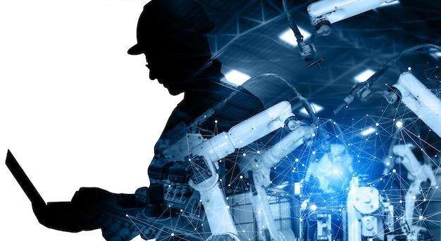 Zmechanizowane ramiona robotów przemysłowych w przyszłej fabryce