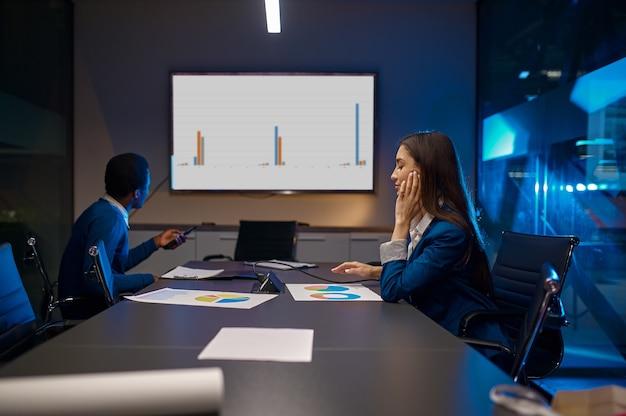 Zmęczony menedżer, prezentacja biznesowa w nocnym biurze. pracowników płci męskiej i żeńskiej, ciemne wnętrze centrum biznesowego, nowoczesne miejsce pracy