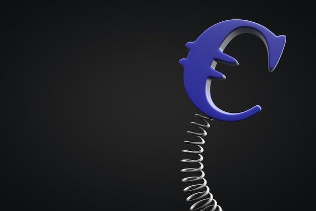 Zmienność waluty europejskiej. symbol euro kołysze się na wiosnę. skopiuj miejsce.