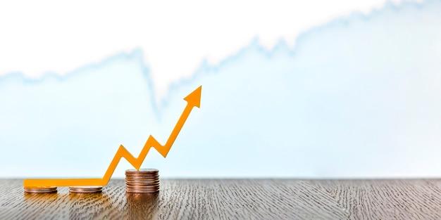 Zmienność, zmiana wartości papierów wartościowych, zmienność rynków akcji. strzałka skierowana w górę na stosy monet, baner, miejsce na tekst.
