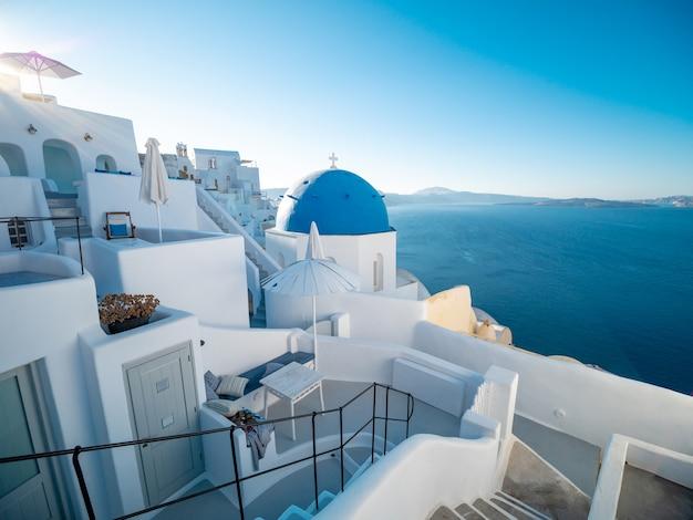 Zmierzchu widok od oia, santorini wyspa, grecja.