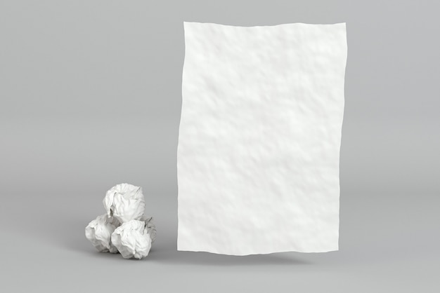 Zmięte kartki papieru i wizytówka