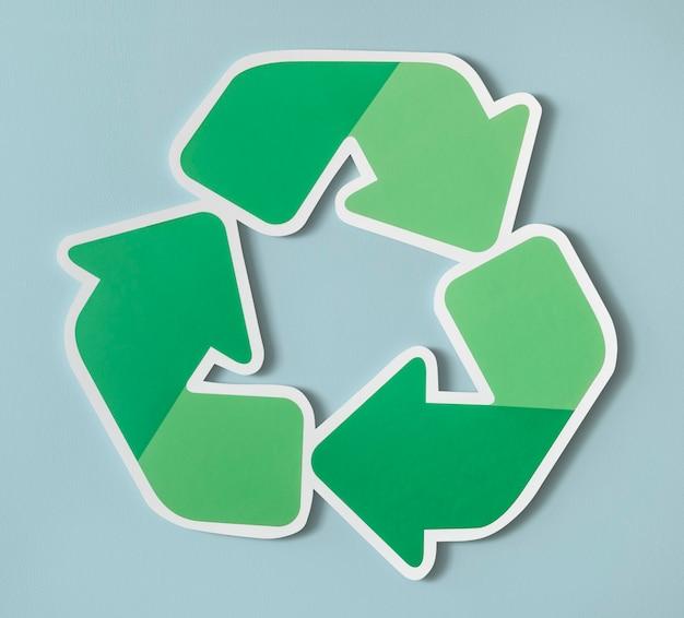 Zmniejszenie ponownego wykorzystania ikony symbolu recyklingu