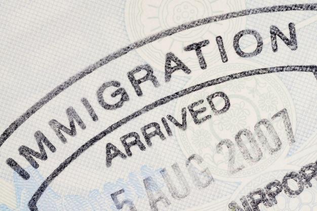 Znaczek paszportu imigracja