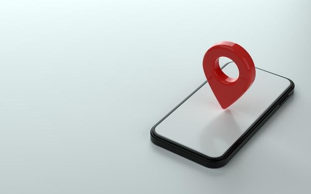 Znacznik mapy lub punkt pin na górze ilustracji 3d telefonu