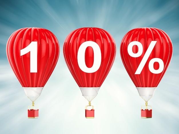 Znak 10% sprzedaży na balonach na ogrzane powietrze