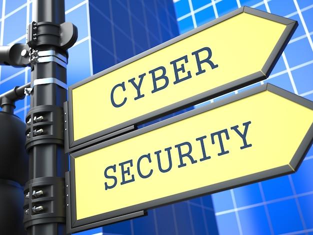 Znak bezpieczeństwa cybernetycznego na niebieskim tle