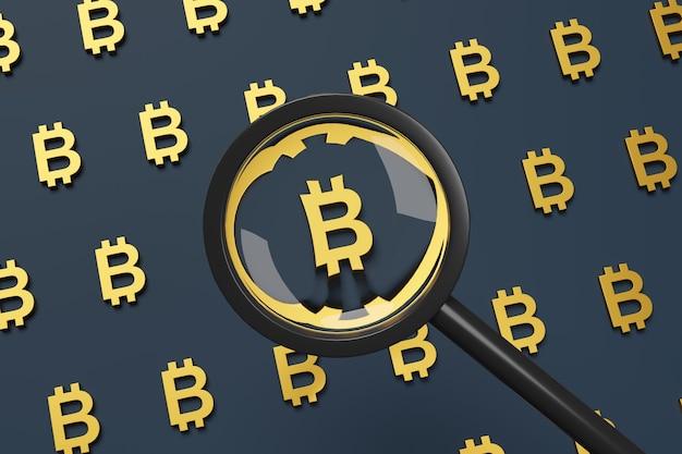 Znak bitcoin widziany przez szkło powiększające.