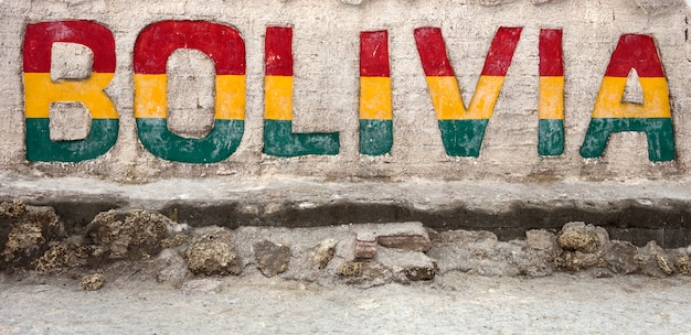 Znak boliwii w salar de uyuni