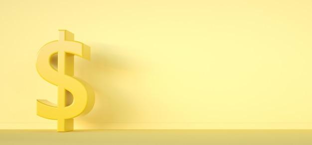 Znak dolara. koncepcja pieniędzy 3render symbol na żółtym tle.