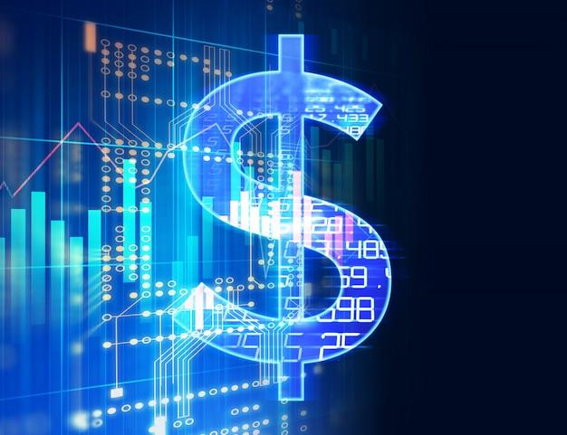 Znak dolara na abstrakcyjnym tle technologii finansowych.