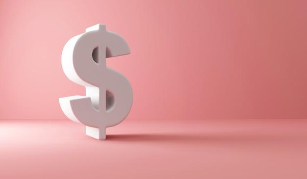 Znak dolara na różowo