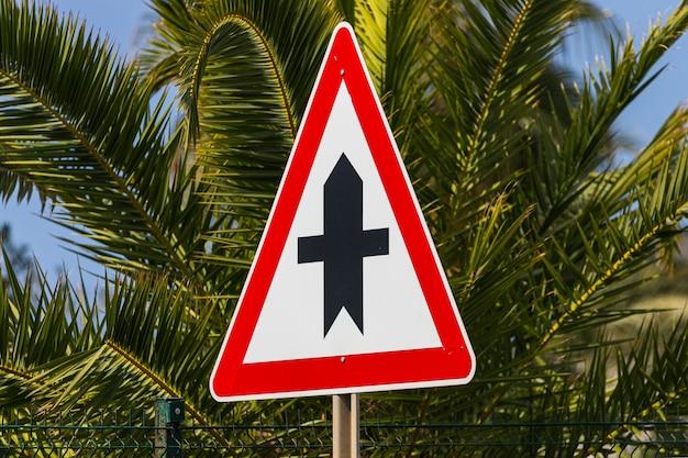 Znak drogowy główna droga na tle jasnych pięknych palm i błękitnego nieba