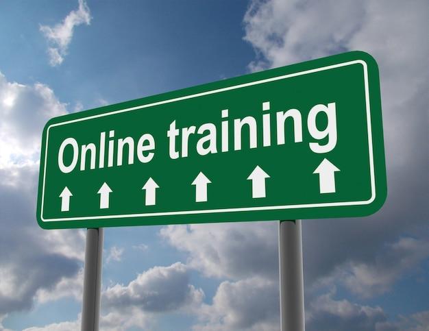 Znak drogowy szkolenia online. 3d renderowana ilustracja