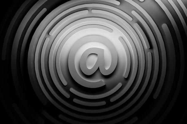 Znak e-mail w niebieskich kolorach.