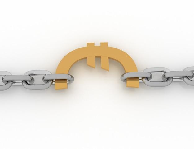 Znak euro i łańcuch - 3d na białym tle