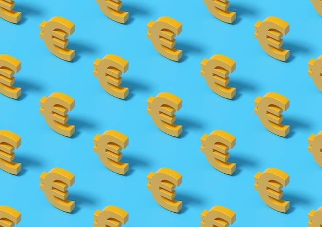 Znak euro, izometryczny wzór. ilustracja 3d.