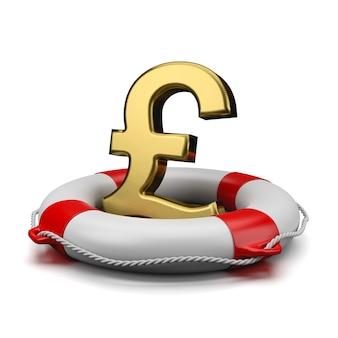 Znak funta brytyjskiego waluty na koło ratunkowe