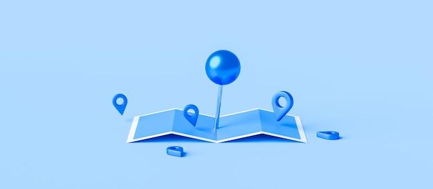 Znak lokalizatora mapy i pinezki lokalizacji lub ikony nawigacji na niebieskim tle z koncepcją wyszukiwania.