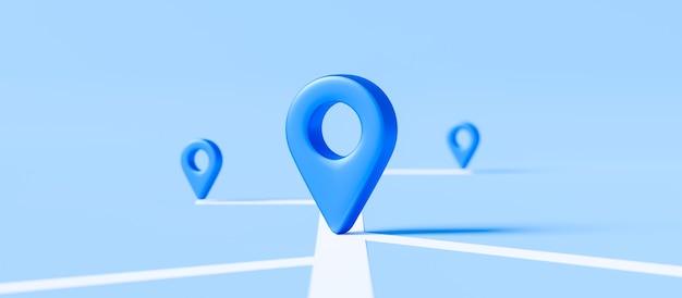 Znak lokalizatora mapy i pinezki lokalizacji lub ikony nawigacji na niebieskim tle