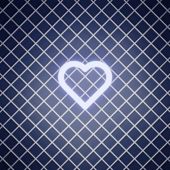 Znak miłości renderowania efektu neonowego