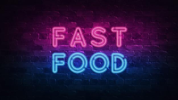 Znak neon fast food. nowoczesny design.