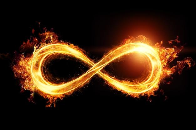 Znak ognia nieskończoności na białym tle