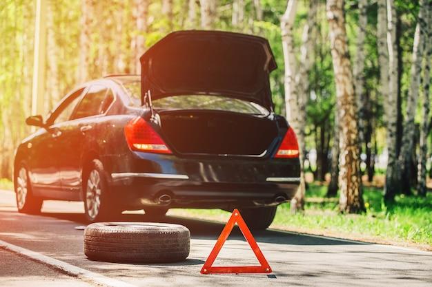 Znak ostrzegawczy i koło na drodze w lesie
