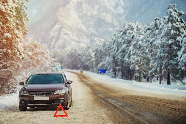 Znak ostrzegawczy na poboczu drogi zimą w górach