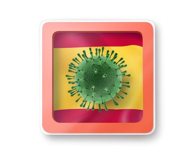 Znak ostrzegawczy z modelem bakterii coronavirus na hiszpańskiej fladze na białej, kopiowanej powierzchni. szybkie rozprzestrzenianie się koronawirusa, covid 19 na świecie. ilustracja 3d