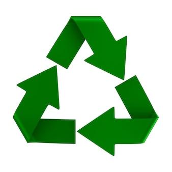 Znak Poddany Recyklingowi Na Białej Przestrzeni Premium Zdjęcia