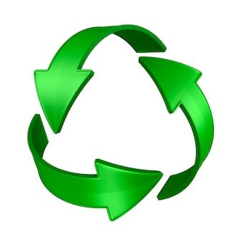 Znak poddany recyklingowi na białej przestrzeni