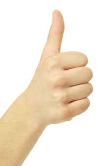 Znak ręką sukcesu na białym tle