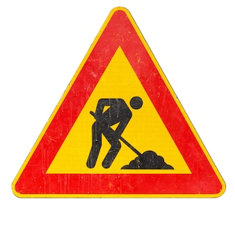 Znak robót drogowych na białym tle