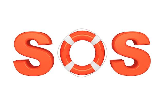 Znak sos z kołem ratunkowym na białym tle