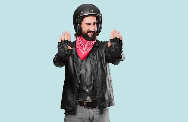 Znak stop jeździec motocykl