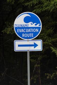 Znak trasy ewakuacji tsunami, park narodowy pacific rim reserve, kolumbia brytyjska, kanada