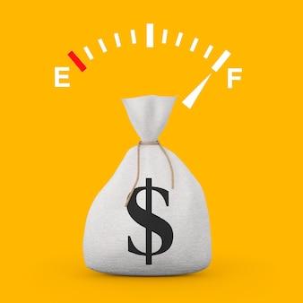 Znak wskaźnika deski rozdzielczej paliwa przedstawiający pełny zbiornik w pobliżu wiązanej rustykalnej płótno lniane worek pieniędzy lub worek pieniędzy ze znakiem dolara na żółtym tle. renderowanie 3d