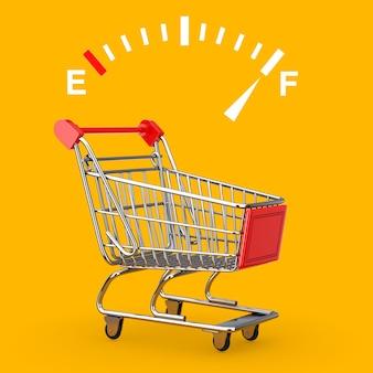 Znak wskaźnika deski rozdzielczej paliwa przedstawiający pełny zbiornik w pobliżu wózka na zakupy na żółtym tle. renderowanie 3d