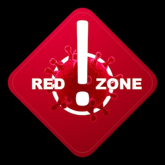 Znak z napisem czerwona strefa. czerwony poziom zagrożenia, koronawirus, blokada, kwarantanna, wirus. wyizoluj na czarnym tle. renderowania 3d, ilustracja 3d.