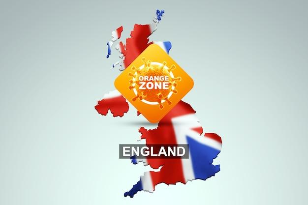 Znak z napisem orange zone na tle mapy anglii z angielską flagą. pomarańczowy poziom zagrożenia, koronawirus, blokada, kwarantanna, wirus. renderowania 3d, ilustracja 3d.