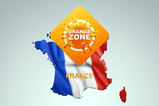 Znak z napisem orange zone na tle mapy francji z francuską flagą. pomarańczowy poziom zagrożenia, koronawirus, blokada, kwarantanna, wirus. renderowania 3d, ilustracja 3d.