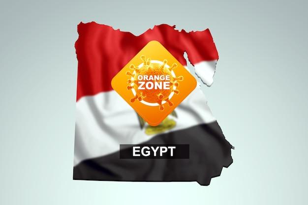 Znak z napisem pomarańczowa strefa na tle mapy egiptu z flagą egipską. pomarańczowy poziom zagrożenia, koronawirus, blokada, kwarantanna, wirus. renderowania 3d, ilustracja 3d.