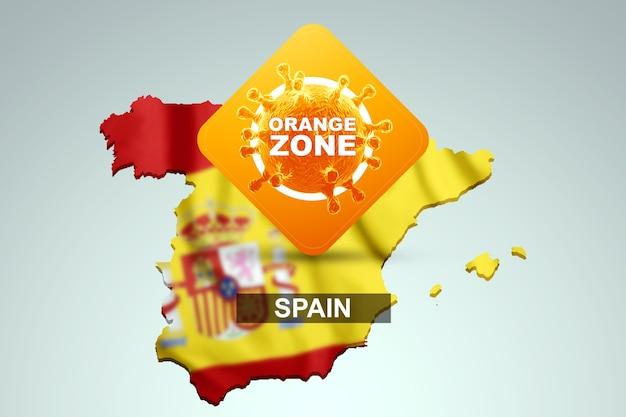Znak z napisem pomarańczowa strefa na tle mapy hiszpanii z hiszpańską flagą. pomarańczowy poziom zagrożenia, koronawirus, blokada, kwarantanna, wirus. renderowania 3d, ilustracja 3d.