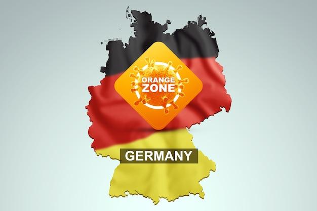 Znak z napisem pomarańczowa strefa na tle mapy niemiec z niemiecką flagą. pomarańczowy poziom zagrożenia, koronawirus, blokada, kwarantanna, wirus. renderowania 3d, ilustracja 3d.