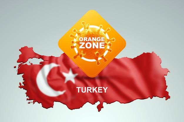 Znak z napisem pomarańczowa strefa na tle mapy turcji z turecką flagą. pomarańczowy poziom zagrożenia, koronawirus, blokada, kwarantanna, wirus. renderowania 3d, ilustracja 3d.