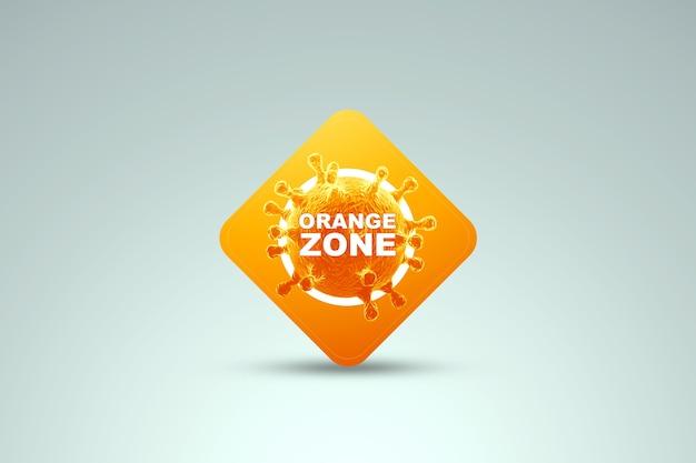 Znak z napisem pomarańczowa strefa. pomarańczowy poziom zagrożenia, minimalny. koncepcja koronawirusa, blokada, kwarantanna, wirus. renderowania 3d, ilustracja 3d.