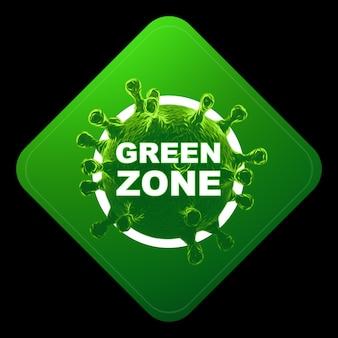 Znak z napisem zielona strefa. czerwony poziom zagrożenia, koronawirus, blokada, kwarantanna, wirus. wyizoluj na czarnym tle. renderowania 3d, ilustracja 3d.