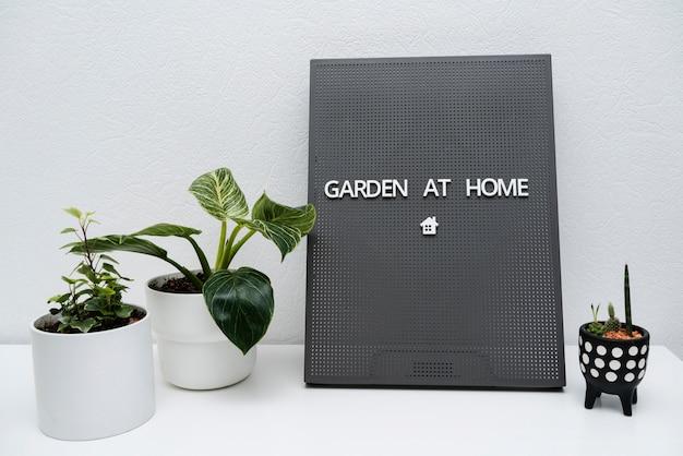 Znak z ogrodem w domu obok doniczki z roślinami